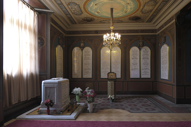 Tombstones marking the burial of Tsar Nicholas II and his family in St. Catherine's Chapel