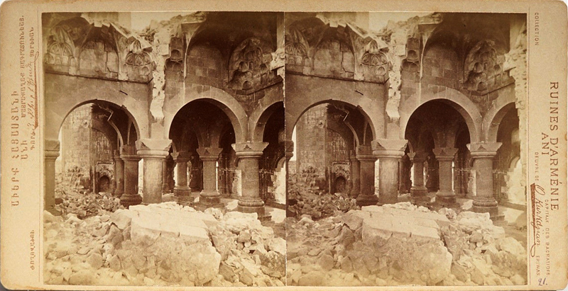 Stereo photograph of the interior of the Minuchihr mosque in Ani, Turkey